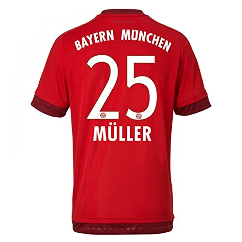 大学院無心プラカード2015-16 Bayern Munich Home Shirt (Muller 25)