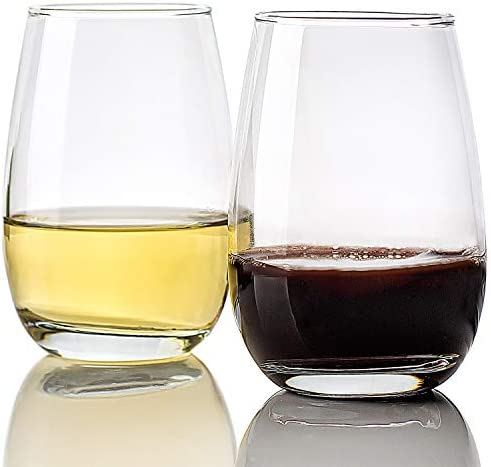 14-Ounce Set of 12 Stemless Red White Wine Glasses, Elegant Clear Party Multipurpose Glassware