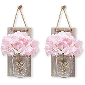 Stress Junkie Hanging Mason Jar Wall Decor Sconce with LED Fairy Lights, Rustic Wood with Beautiful Pink and Cream Flowers Included for Home, Kitchen, Bathroom & Farmhouse Room Decorations (Set of 2)
