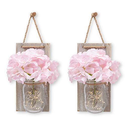 (Stress Junkie Hanging Mason Jar Wall Decor/Sconce with LED Fairy Lights, Rustic Wood with Beautiful Pink and Cream Flowers Included for Home, Kitchen, Bathroom & Farmhouse Decorations (Set of 2))
