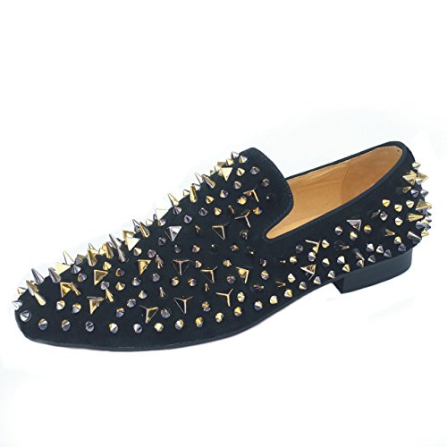 Men's Black Leather Loafers Prom Slippers Flats With Gold Spikes and Red Bottom Slip-On Dress Shoes New (11) by Justyourstyle