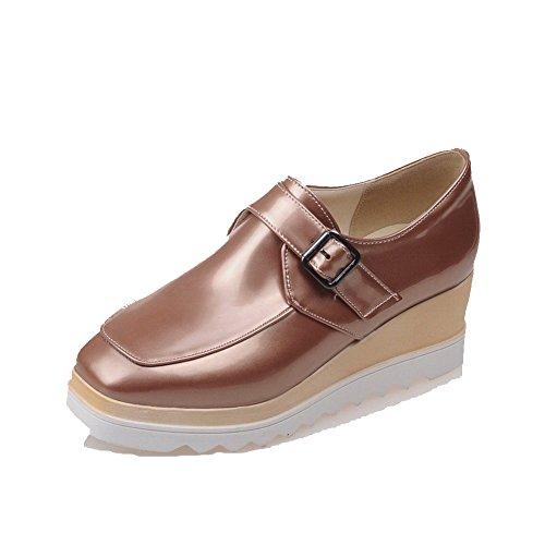 Chiuso Punta Pompe calzature Pelle Donne Solido Oro Fibbia Delle Verniciata tacco Quadrato Alto Amoonyfashion nYw1Xwx