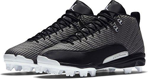 570e49ab719 ... Nike Mens Jordan 12 XII Retro MCS Baseball Cleats BlackWhiteMet Silver  854566-010 Size 8 batman jordans black ...