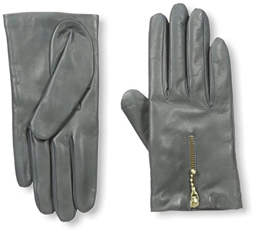 Portolano Women's Leather Glove with Zipper, Grey, 7.5 M US