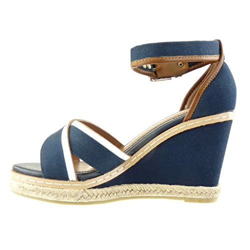 ... Angkorly - damen Schuhe Sandalen Espadrilles - bi-Material -  Plateauschuhe - Fertig Steppnähte Keilabsatz ...