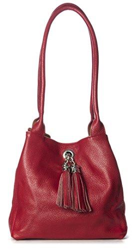 BHBS Reversibel Trendige Damen Italienische Leder Schultertasche 26x23x12.5 cm (BxHxT) (M-504 Deep Taupe)