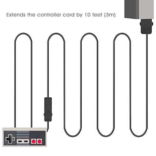2 Pack 10ft Longer Extension Cable for Nintendo SNES Classic Edition Controller-2017 and Mini NES Classic Edition-2016 Black