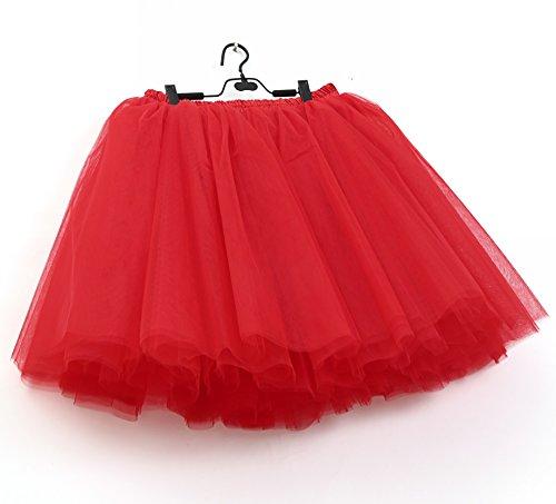 SCFL falda del ballet de la enagua del enaguas de la falda medio Rojo