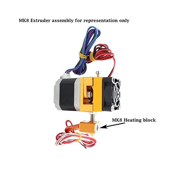 NEEANN M6 X 30mm Throat with teflon tube 1pc and 0.4mm Brass Extruder Nozzle 1pc and Heat Block for MK8 Makerbot ANET A8 Reprap 3D Printer