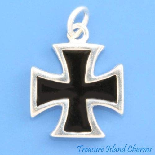 Black Enamel Maltese Cross Pattee 925 Sterling Silver Charm Pendant Crafting Key Chain Bracelet Necklace Jewelry Accessories ()