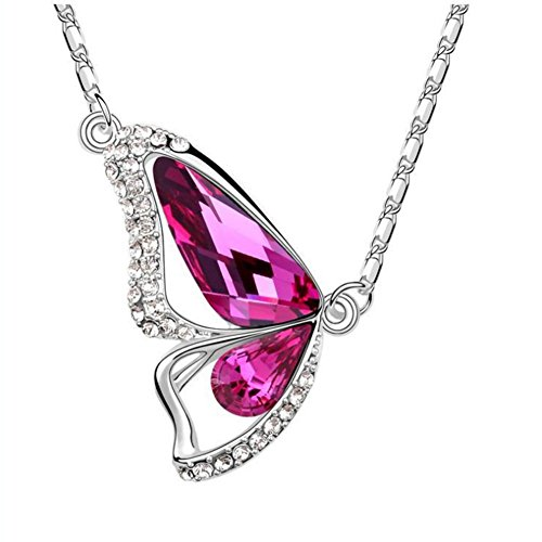 CHAKNOE Crystal Female Butterfly Jewelry Accessory Gift Chain Necklace(C2) (Dance Costume Suppliers Uk)