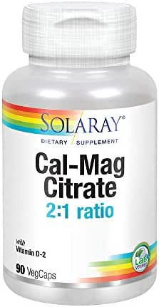 Solaray Calcium & Magnesium Citrate with Vitamin D-2, 2:1 Ratio | For Healthy Bones, Teeth, Muscle & Nervous System Function | High Absorption | 90 Count