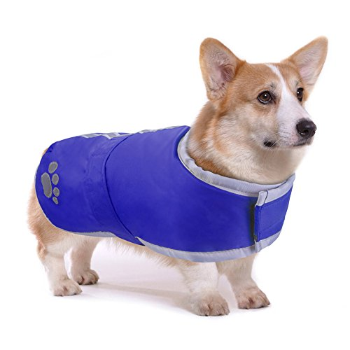 PETBABA Dog Winter Jacket, Fleece Coat Waterproof Parka Warm Pet, Reversible Clothes Suitable Snow Cold Weather Christmas Holiday, Reflective Puffer Vest Safe at Night Walk - M in Blue