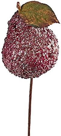 for Home Decor Factory Direct Craft Champagne and Red Beaded Iced Pears 6 Pears