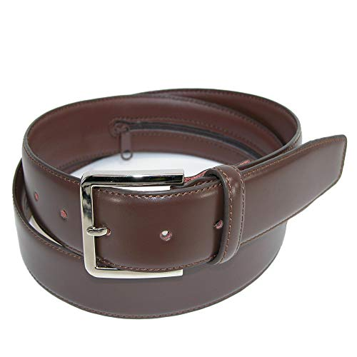 (CTM Men's Leather Travel Money Belt (Large Sizes Available), 44, Brown)