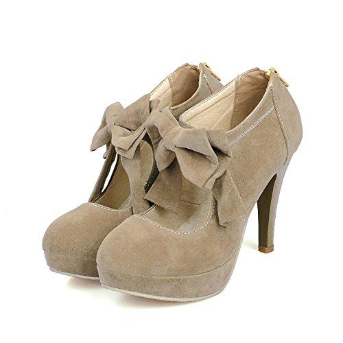 Womens Plattform Högklackade - Feelmestyle Stilett Häl Boots Vintage Rosett Party Bröllop Pumpar Skor Khaki
