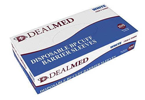 - Dealmed Disposable Blood Pressure Cuff Barrier Sleeve, White, 100 Count