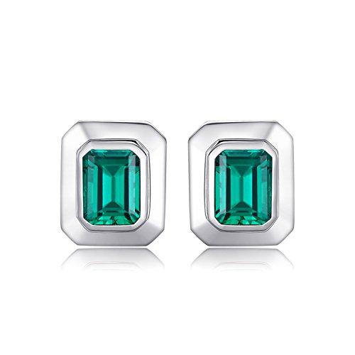 Emerald Cufflinks (Jewelrypalace Men 4ct Simulated Nano Russian Emerald Cufflinks Genuine 925 Sterling Sliver)