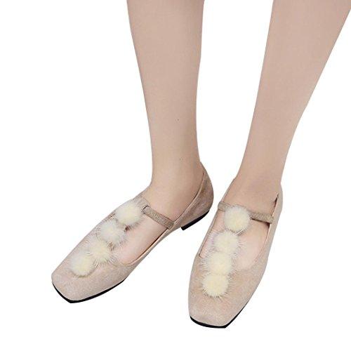 En Ballerines Casual Plates Flat Chaussures Overdose Daim chaussures Pompons À Beige Autumn Bout Hiver Carré overdose Confort Femme 7aAqva
