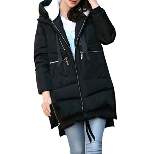 Amiley hot sale Christmas Women Plus size Extra Thick Winter Long Down Coat with Zipper Closure & Multiple Pockets (Black, XXL) ()