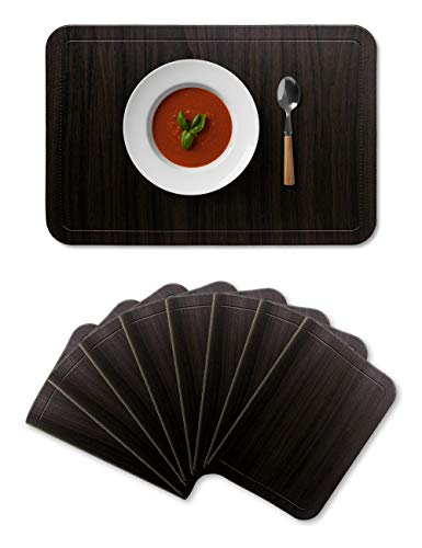 Alpiriral Dining PlaceMats Set of 8 Heat Resistant PlaceMats Easy to Wipe Off Scrub Vinyl Place Mats Washable Table Mats Protect A Table from Messes & with A Nice Looking in Hickory Wood Brown