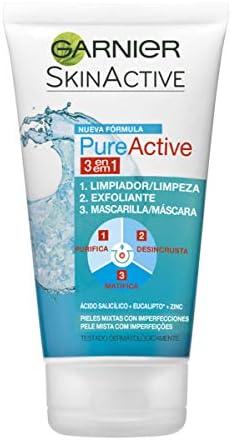 Garnier Skin Active Gel 3 en 1 Arcilla, para Pieles Mixtas a Grasas, Limpia, Exfolia y Matifica, Pack de 2 x 150ml