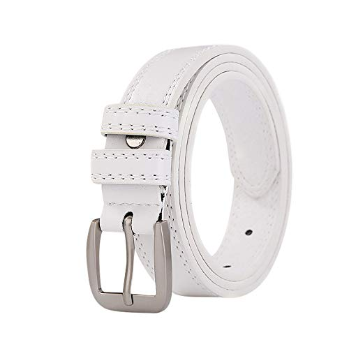 Casual Belts For Men Jeans,Fashion Ladies Leather Lined Jeans Belt Belt Hollow Lesisure Double Cable Belts,Girls' Belts,White