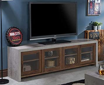 Amazon Com Tv Stand For 65 Inch Tv Distressed Walnut Wood Cement