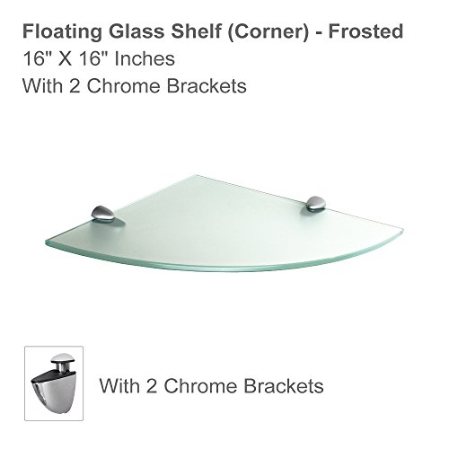 "Fab Glass and Mirror Floating Shelf (Corner) 16x16 Inch W/Chrome Brackets-Frosted Glass Shelves 16"" X 16"""
