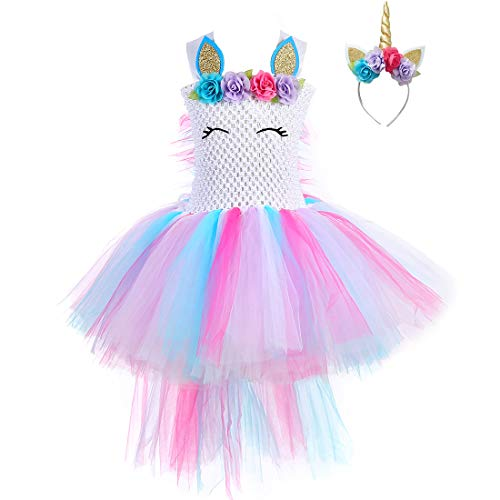 Pastel Unicorn Tutu Dress for Girls Kids Birthday Party Unicorn Costume Outfit with Headband ()