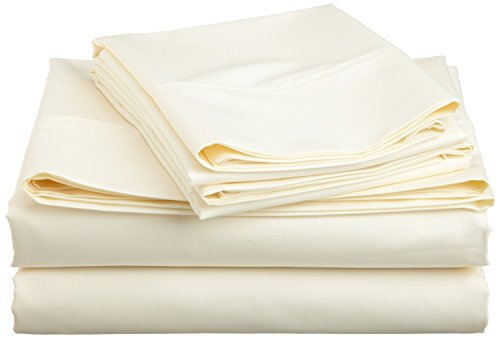 Galaxy's Linen Super Soft 500 TC Bed Sheets - 100% Egyptian Cotton in (Solid) Ivory, Size (Queen), 26 - inches Mattress Deep Sheet ()