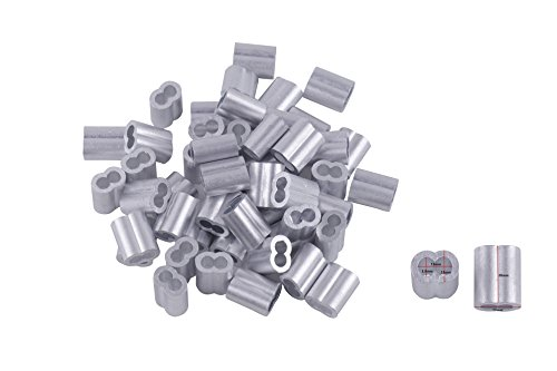 Eowpower 50pcs Aluminum Crimping Loop Sleeves Cable Crimp for 3/16
