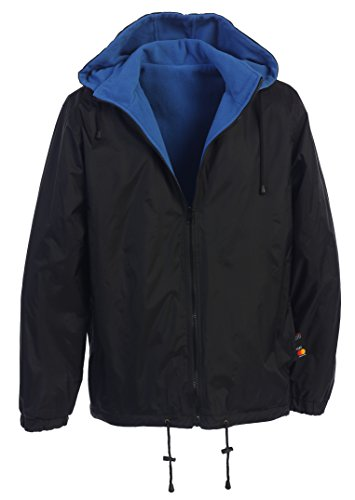 (Gioberti Men's Reversible Rain Jacket with Polar Fleece Lining, Black/Blue, L)