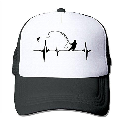 PARP9E Adjustable Men's Women's Mesh Cap Fishing Heartbeat Trucker Hat Dad Snapback Hats
