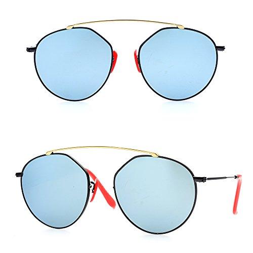 BNUS Vintage Fashion Round Style Wayfarer Polarized Sunglasses for Women Sliver mirrored (Frame: Black / Lens: Sliver Flash, Polarized)