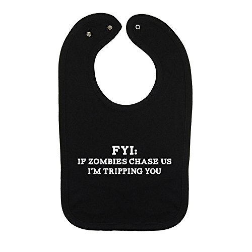We Match! Unisex-Baby - If Zombies Chase Us I'm Tripping You Thick PREMIUM 2-Ply Cotton Baby Bib With Snaps (Black) (Zombie Baby Clothes)
