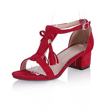 LvYuan Mujer-Tacón Robusto-Otro-Sandalias-Informal Fiesta y Noche Vestido-Vellón-Negro Azul Rosa Rojo Gris Black