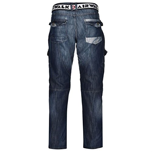 Airwalk Herren Cargo Jeans Denim Hose Straight Fit Guertel 6 Taschen Cargohose Blau 40W R