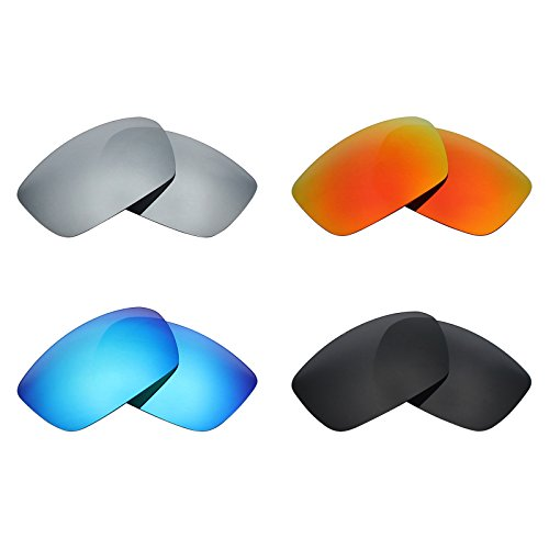 Mryok 4 Pair Polarized Replacement Lenses for Spy Optic Dirk Sunglass - Stealth Black/Fire Red/Ice Blue/Silver Titanium by Mryok