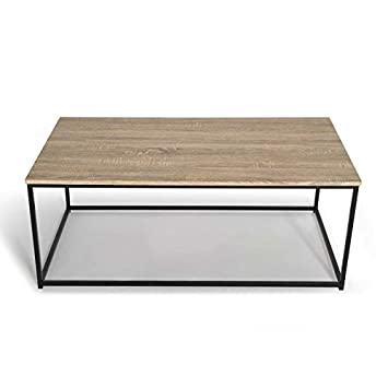 Idmarket Table Basse Detroit Design Industriel Bois Et Metal Noir