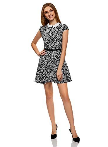 Imprime 2910f Ultra Femme Rabattu Noir Robe oodji Col xptSwq0xR