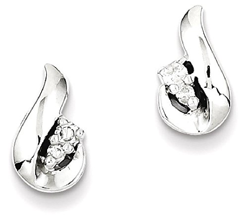ICE CARATS 925 Sterling Silver Diamond Teardrop Post Stud Ball Button Earrings Fine Jewelry Gift Set For Women Heart by ICE CARATS (Image #1)