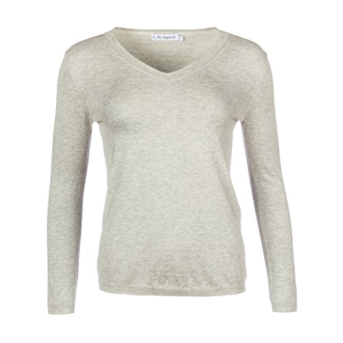 L. Bo Apparel, Savvy: Grauer Ellenbogen Patches Pullover Damen in Grau, Kaschmir Baumwolle, XS