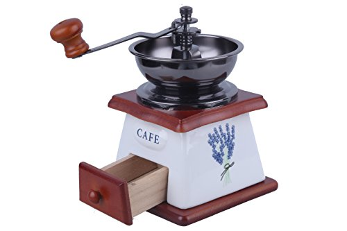 Manual Coffee Grinder - Hand Cranked Vintage Wooden Coffee Bean Grain Brewing Grinding Mill for Precision and Consistency Small - 4.70L x 7.20H x 4.70W Inches