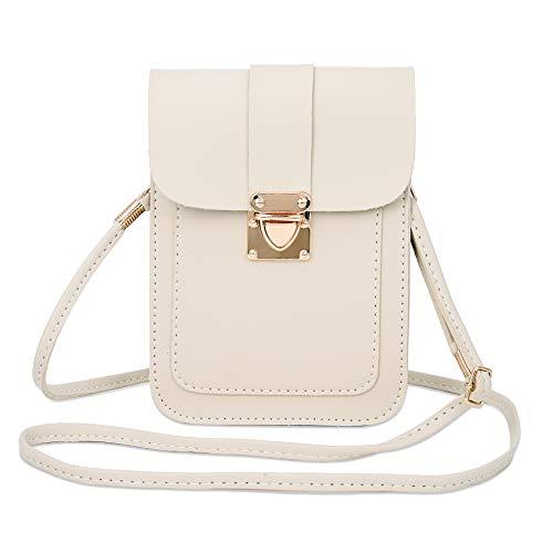 WOZEAH Crossbody Purse And Handbags Mini Cellphone Pouch Wallet Bag (white)