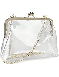 Clear Transparent PVC Kiss Lock Chain Cross Body Bag...