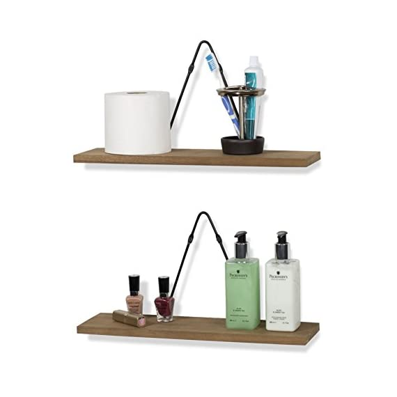 Rustic State Moma Farmhouse Decor | Wall Mount Floating Shelves Wood with Triangle Bracket Set of 4 (Walnut) - Fits in Any Decor, No More Wobbling: The durable triangle brackets hang flat to your wall surface and the wood shelving units attach to the brackets with ease, so your shelves stay steady and solid for years to come. Made with Quality Craftsmanship: These shelves are well-constructed with high-quality iron material wall brackets. The shelves also come in the perfect size. Each shelf is 16 ½ x 4 ½ inches while the triangle brackets stand 8.25 inches tall, giving you the flexibility to dress up your walls while organizing your space with style. Goes Anywhere Perfectly: Add contemporary style and industrial flair to any space that needs a quick remodel. The beautiful decorative design with wood and iron materials blends perfectly with any room. Utilize it in your entryway, kitchen, living room, dining room, bathroom, nursery, bedroom or office space and style your room like an interior designer.. - wall-shelves, living-room-furniture, living-room - 41QqEPeVABL. SS570  -