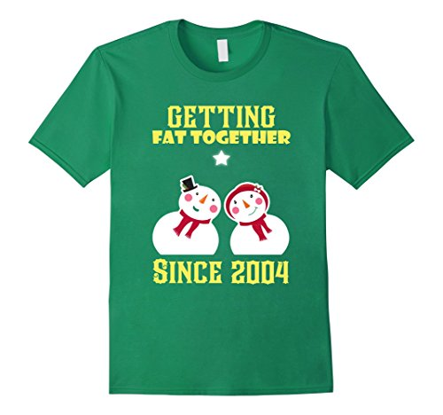 Mens Funny Gift For Couple. Christmas Shirt For 13th Anniversary. Medium Kelly Green