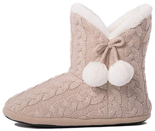 (Airee Fairee Slippers Booties for Women Ladies Girls Slipper Boot Bootie Faux Fur Lined with Pom Poms (Large US 9-10, Beige) )