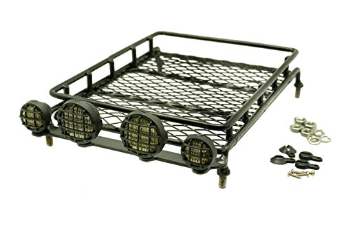 Gadget Place Metal Roof Rack / Luggage Storage Basket with Light Housings for RC Toys by Gadget Place